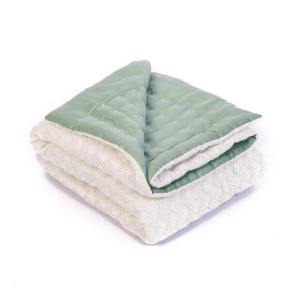 legetæppe, grønt tæppe, quiltet tæppe